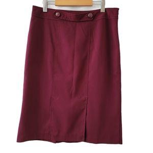 Inverted Kick Pleat Burgundy Straight Pencil Skirt